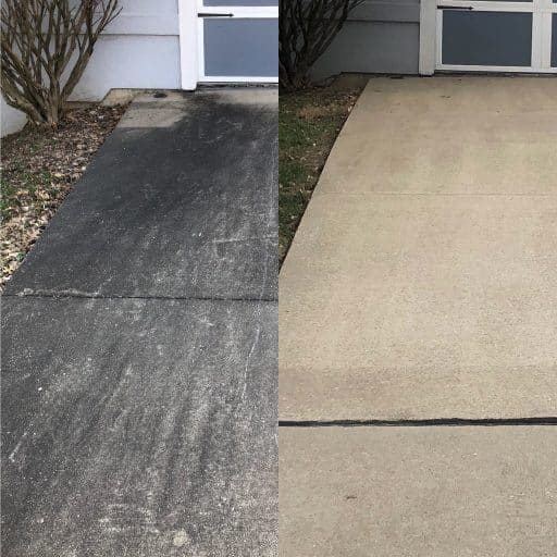 Before and after of concrete driveway where black stains have been cleaned off