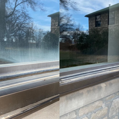 Before and after of a window showing cloudy residue removed