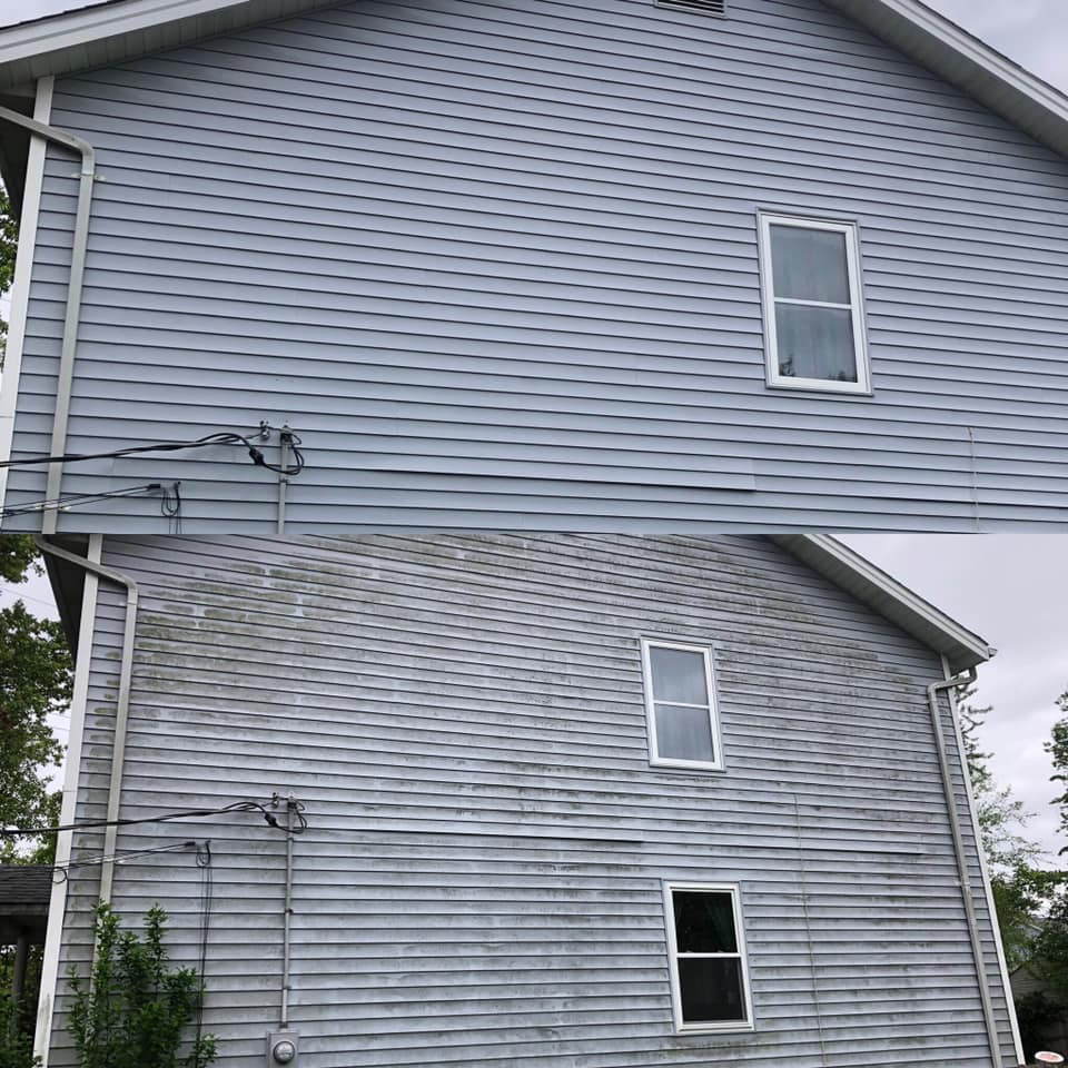 Before and after of house siding showing cleaning difference