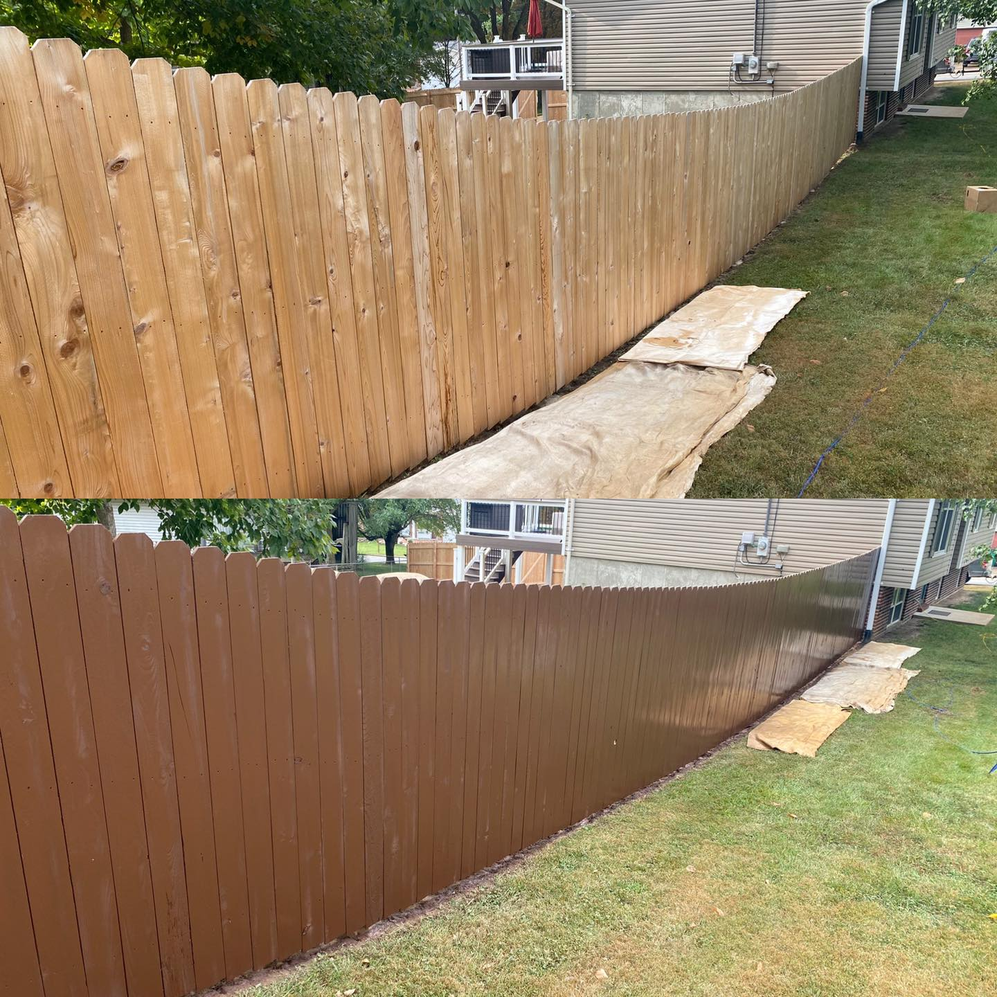 Before and after of wood fence showing paint removed to reveal wood grain.